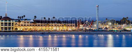 Santa Cruz, California - April 3, 2021: Santa Cruz Beach Boardwalk Amusement Park During The Blue Ho