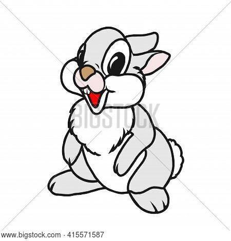 A Beautiful Jack Rabbit Or Hare Sits. Cartoon Character Vector  Flat Illustration Isolated On A Whit