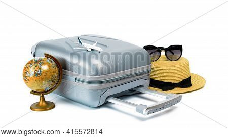 Suitcase White Background. Womens Accessories Traveler: Suitcase, Straw Hat, Sunglasses Toy Plane An