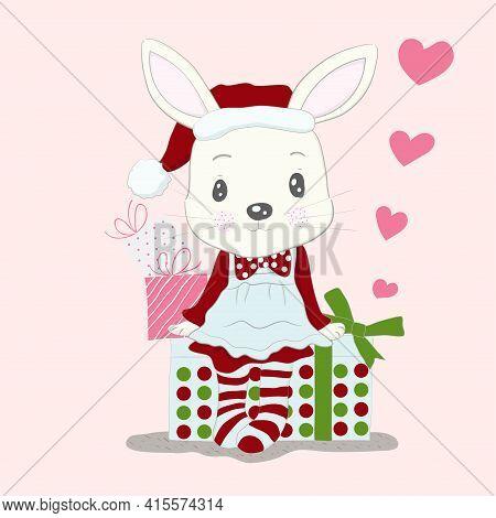 Cute Little Rabbit Cartoon Wear Dress Santa Claus And Gift Box. Hand Drawn Style