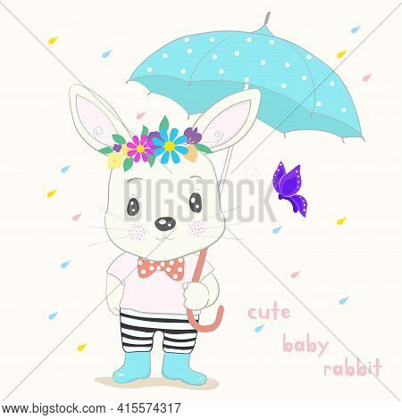 Cute Little Rabbit Cartoon Hold Umbrella In Hand On A Rainy Day. Hand Drawn Style