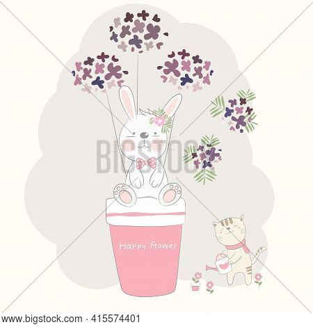 The Cute Baby Rabbit And Flower With Cat. Hand Drawn Cartoon Style