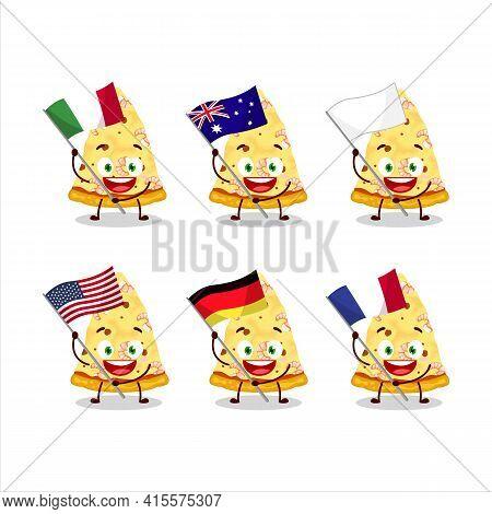 Slice Of Marinara Pizza Cartoon Character Bring The Flags Of Various Countries
