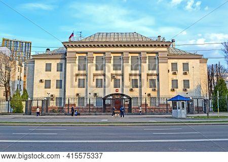 KIEV, UKRAINE - APR 01: Russian Embassy building on April 01, 2021 in Kiev, Ukraine. It was open on August 6, 1992.