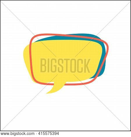 Yellow Speech Bubble And Red Frame In Flat. Memphis Style Banner With Abstract Geometric Shapes. Col