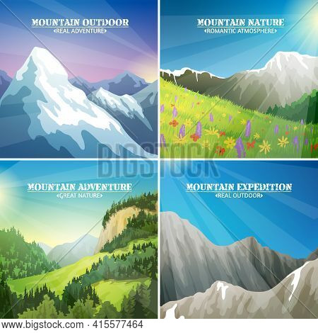 Mountains Landscapes 4 Flat Icons Square Composition With Alpine Meadow Flowers And Icy Peaks For Tr