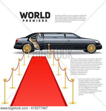 Luxury Limousine Car And Red Carpet For World Premiere Celebrities And Guests Poster With Quotes Tex