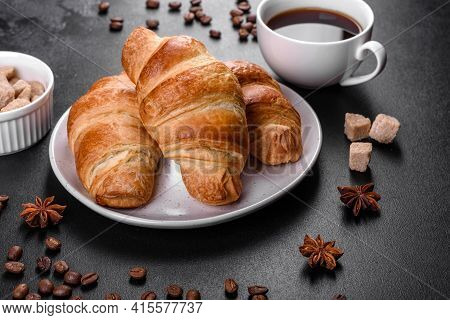 Fresh Crisp Delicious French Croissant With A Cup Of Fragrant Coffee
