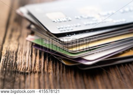 Credit Cards For Online Shopping. Credit Card Close Up.