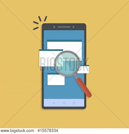 Online Analysing Check Of Law Legal Docs, Find Or Search On Cellphone. Scan Or Inspection Of File Fo