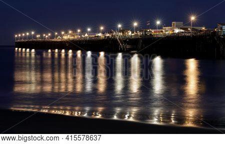 Santa Cruz Municipal Wharf During The Blue Hour. Santa Cruz, California, Usa.