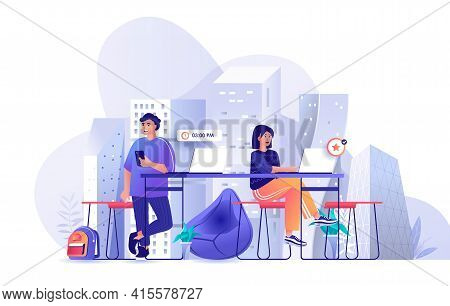 Colleagues At Coworking Office Scene. Man And Woman Working In Open Office Together. Freelance Worke