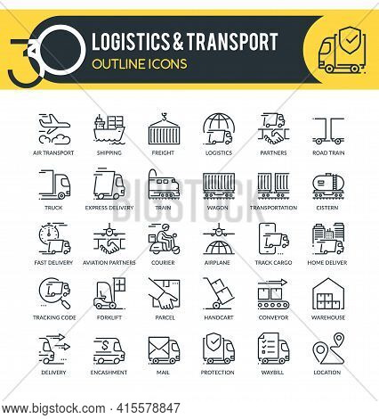 Set Of Outline Icons On Following Topics Logistics, Transport, Delivery And Other. Each Icon Neatly