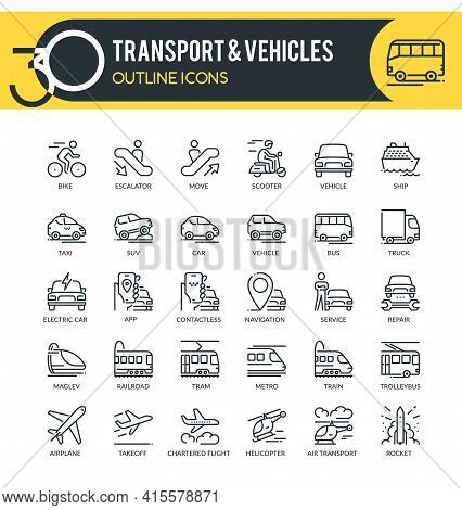 Set Of Outline Icons On Following Topics Transport, Vehicles, Logistics And Other. Each Icon Neatly