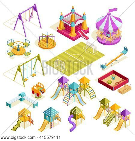 Playground Isometric Collection With Carousels Bench Sandbox Roller Swing Soccer Field And Slides Is