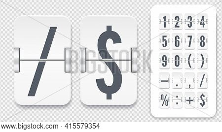 Vector Template For Time Design. Flip Scoreboard With Numbers Symbols And Shadows For White Countdow