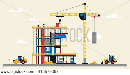 Construction Site Illustration. Building Under Construction. Heavy Machinery Work On Site, Asphalt P
