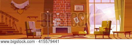 Old Abandoned Chalet House With Broken Wooden Staircase And Fireplace. Vector Cartoon Messy Interior
