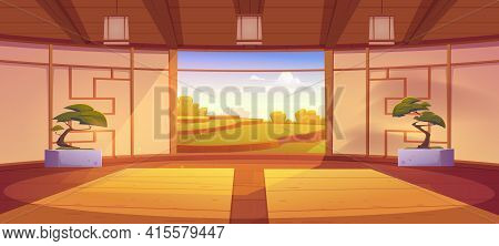 Dojo Room, Empty Japanese Style Interior For Meditation Or Martial Arts Workout With Wooden Floor, B