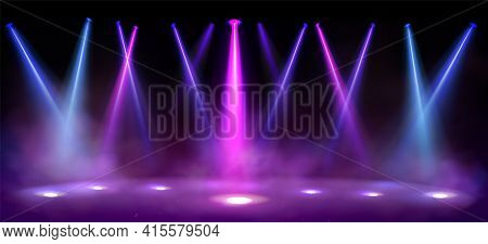 Stage Lights, Spotlight Beams With Smoke On Black Background, Glowing Studio Or Theater Scene Lamp R
