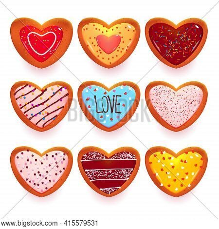Gingerbread Cookies In Shape Of Heart, Cartoon Sweets For Valentines Day Or Dating. Decorated Pastry