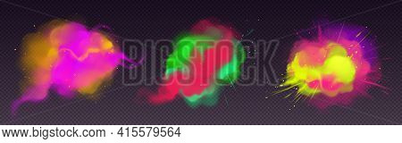 Colorful Smoke Flow And Paint Powder Explosion. Vector Realistic Set Of Color Splashes, Dust Clouds