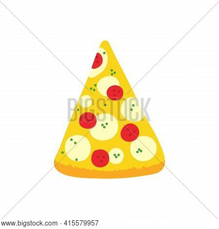 Pizza Slice With Pepperoni And Mozzarella Vector Cartoon Style Illustration, Icon For Fast Food Desi