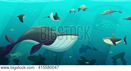 Underwater Ocean Live Aquamarine Flat Abstract Banner With Shark Squid Fish Turtles And Seaweeds Fla