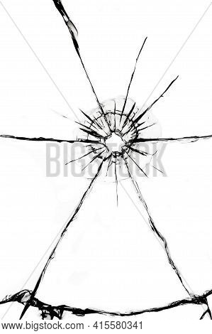 Texture Of Cracks On The Glass From The Shot. Cracked Glass For Design. Cracks On A White Background
