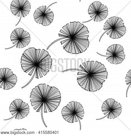 Floral Seamless Pattern, Green Palm Leaves On A Pale Pink Background.