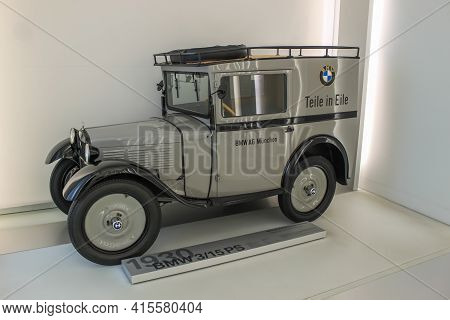 Germany, Munich - April 27, 2011: Vintage Bmw 3 15 Ps Car From 1930 In The Exhibition Hall Of The Bm