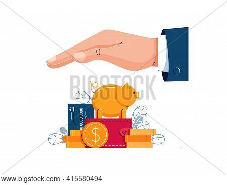Savings Protection Vector Illustration. Business Hand Covers The Wealth, Protects From Risks, Crisis