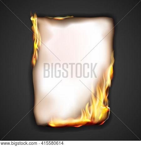Paper Burning In Fire Flame, Realistic Vector Burnt Paper With Sparks On Edge Frame. Burning Paper S