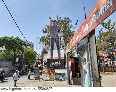 Closeup Of Sandalwood Famous Actor Power Star Punith Rajkumar, Yuvarathnaa Movie Cutout At The Entra