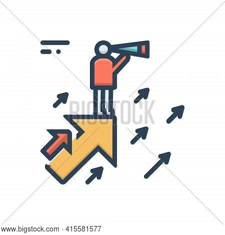 Color Illustration Icon For Business-vision Business Vision Eyesight Estimation
