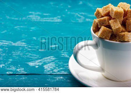A Cup Full Of Sugar. Cane Sugar Cubes. Granulated Sugar.