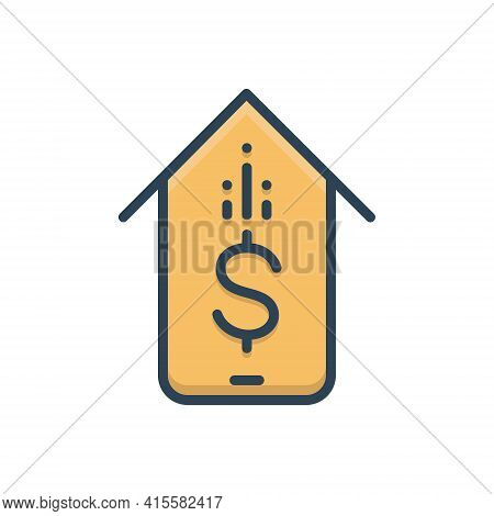 Color Illustration Icon For Mobile-banking Mobile Banking  Online Payment Mobile-payment