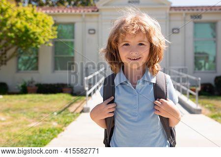 Schoolchild Running On Playground End Of Class. School Vocation