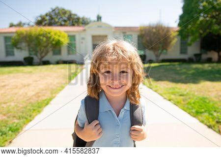 Funny School Boy Face. Kid School Boy Enjoy School Vacation. Day Out Or Weekend. Vacation Or School