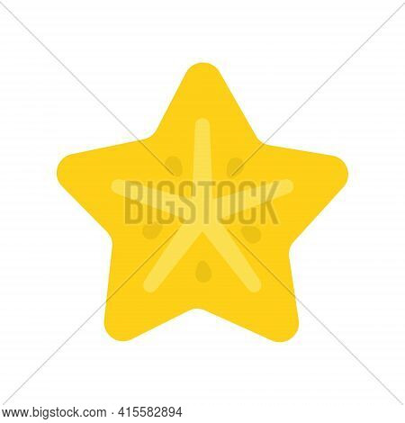 Cute Carambola Exotic Fruit, Isolated Colorful Vector Icon