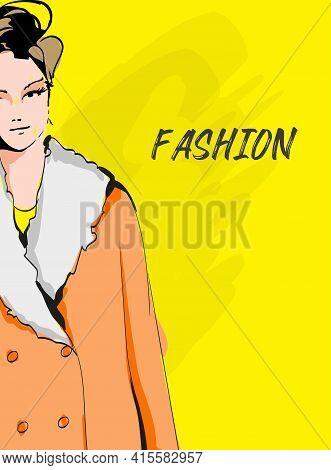 Beautiful Young Woman In Spring Coat. Hand Drawn Fashion Girl. Fashion Model Posing. Sketch. Vector