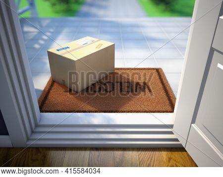 Cardboard parcel box delivered outside the door. Parcel on the door mat near entrance door. Online purchase delivery concept. 3d rendering