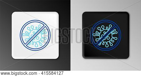 Line Stop Virus, Bacteria, Germs And Microbe Icon Isolated On Grey Background. Antibacterial And Ant