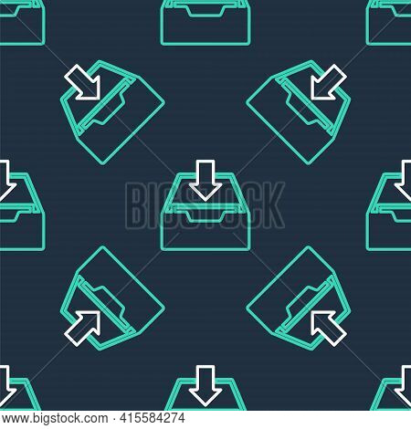 Line Download Inbox Icon Isolated Seamless Pattern On Black Background. Add To Archive. Vector