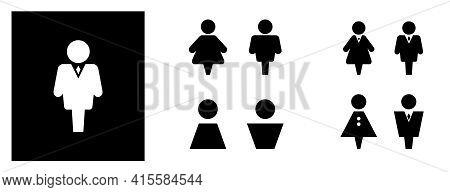 Wc Sign Icon. Set Toilet And Restroom Symbol. Washroom