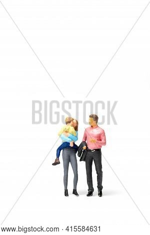 Miniature People Happy Family Standing On White Background And Copy Space For Text
