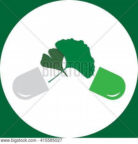 Ginkgo Biloba Leaves  Medicine Capsule, Alternative Medicine Green Pills Icons Vector Illustration