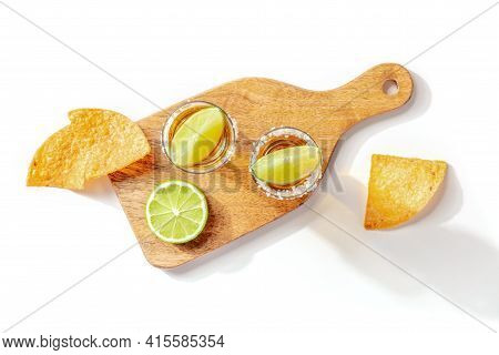 Tequila Shots With Limes And Nachos, Top Shot