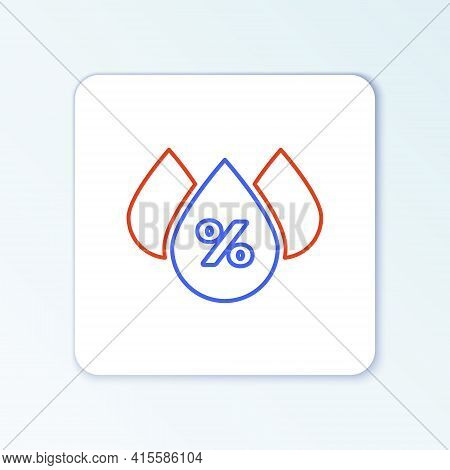 Line Water Drop Percentage Icon Isolated On White Background. Humidity Analysis. Colorful Outline Co