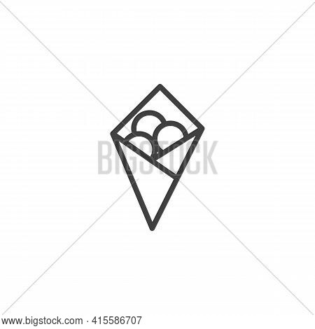 Fried Cheese Balls Line Icon. Linear Style Sign For Mobile Concept And Web Design. Crispy Cheese Bal